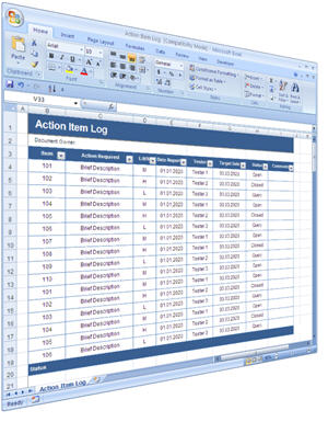 Software Testing: Action Item Log – MS Excel template